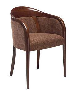 C26, Fauteuil avec bras en bois de hêtre, assise et dossier rembourrés, recouverts de tissu, pour l'usage de contrat