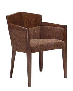 C35, Fauteuil avec bras en bois de hêtre, assise et dossier rembourrés, recouverts de tissu, pour les restaurants et les hôtels