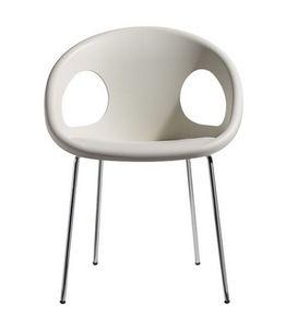 Drop, Chaise moderne en métal et technopolymère, empilable