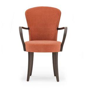 Euforia 00121, Fauteuil en bois massif, assise et dossier rembourrés, tissu, style moderne