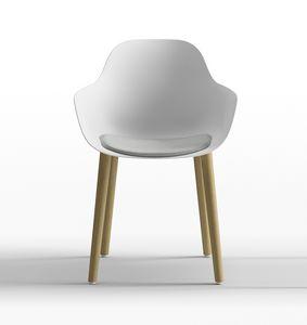 Pola Round P_4W, Chaise design en polypropylène avec pieds en bois