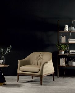 TIFFANY  fauteuil, Fauteuil avec piètement en bois et revêtement en cuir capitonné en forme de losange