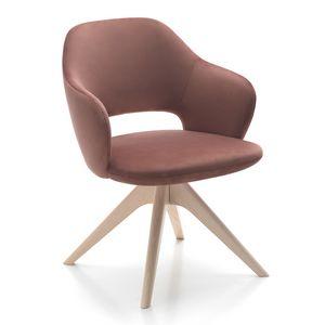 Vivian armchair, Fauteuil disponible avec différentes bases en bois