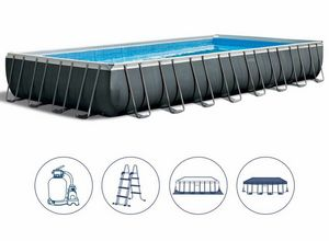 Piscine Intex 26374 Ex 26372 Ultra Large Rectangulaire 975x488x132, Grande piscine gonflable avec couverture