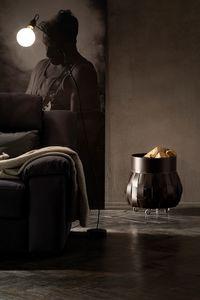 Ovo, Porte-bûches en cuir, avec roues en caoutchouc, pour cheminées