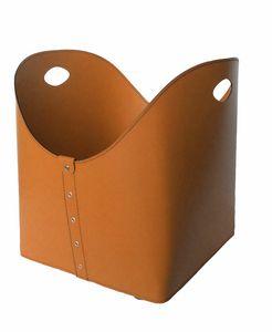 Zesta, Porte-bûches en cuir avec poignées, idéal pour cheminées