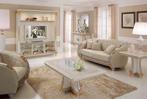 Liberty meuble tele, Mural TV avec des lignes classiques, idéal pour les salles de séjour de luxe de décoration, avec des détails en feuille d'or