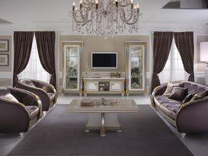 Liberty meuble tv, Meuble de télévision en bois, de style Liberty pour salon classique