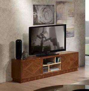 MB55 Desyo, Meuble de télévision en bois marqueté, pour salons classiques