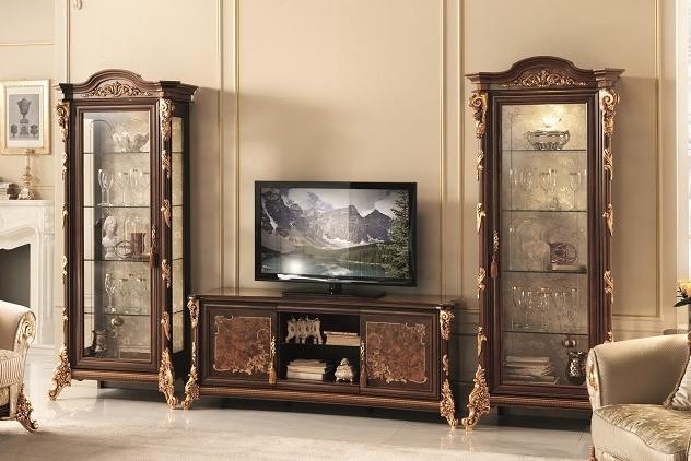 meuble tv avec vitrine avec de l or
