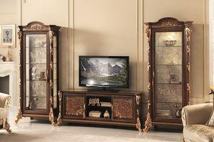 Sinfonia mobile TV, Meuble TV avec vitrine, avec de l'or feuille décorations