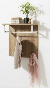 Appendiabiti Con Piano Portatutto In Legno Design Moderno, Cintre avec plateau en bois