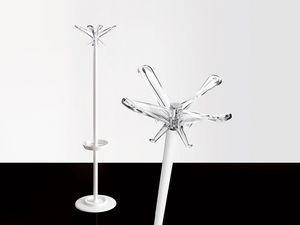 Swing T coat stand, Portemanteau en acier peint avec des parasols se distinguent
