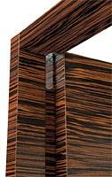 Brera, Porte en bois d'ébène, charnières, porte coplanaires