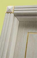 Este, Portes pour l'hôtel, bois blanc brossé, décorations de feuilles d'or