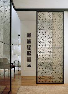 p100 buenos aires, Porte coulissante en verre pour la maçonnerie, cadre en aluminium
