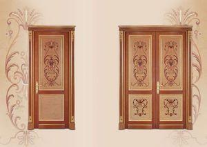 P108 Porte, Porte en bois marqueté, style classique de luxe