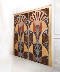 P109 Porte, Porte avec deux portes en bois marqueté, pour les bureaux de luxe