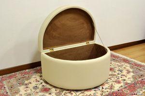 Leonardo, Pouf conteneur semi-circulaire avec traitement capitonné