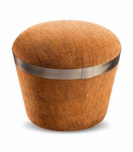 Portofino pouf, Pouf avec bande décorative en métal