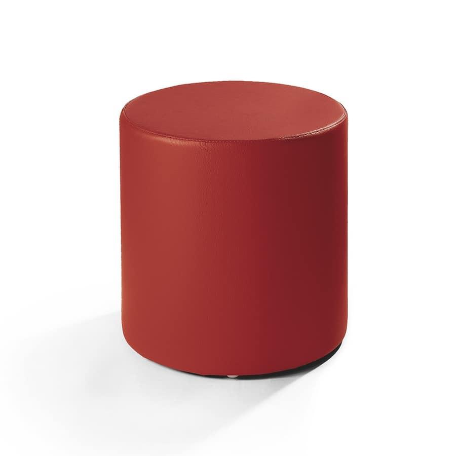 Cilindro 40, Pouf en cuir, de forme cylindrique, pour le salon moderne