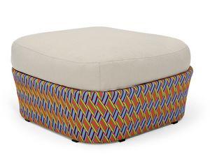 Kente pouf, Pouf avec l'oreiller, le tissage multicolore, pour patio