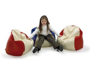 PALLINO, Pouf pour les enfants, recouvert de simili cuir, pour la chambre et la maternelle pour les enfants