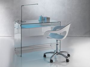 Art. 906 Desk, Bureau avec un design épuré, en verre trasnsparent