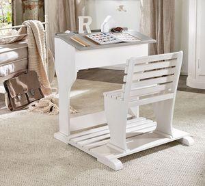 Beniamino bureau enfant, Bureau ergonomique pour enfants, en bois, avec banc
