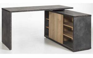 Bureau gris et chêne avec porte coulissante et tiroirs CORE, Bureau en chêne