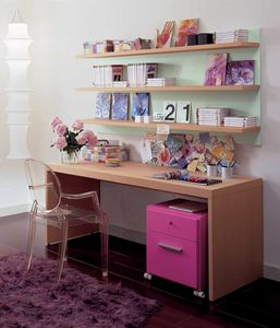 Linear desk 03, Bureau en bois pour chambre d'enfant