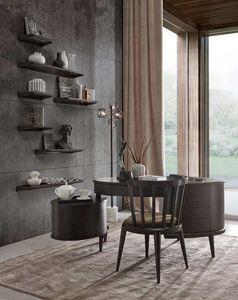 Maracanà Bureau, Bureau ovale avec tiroirs, noir Canaletto