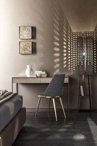 Narciso scrittoio, Bureau avec structure en acier, qui couvre dans le miroir