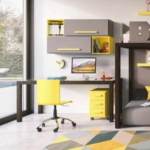 Linear desk 01, Bureau en bois avec plateau en verre