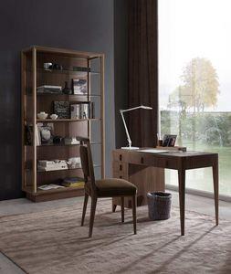 Sunrise bureau, Bureau avec tiroirs et dessus en cuir.