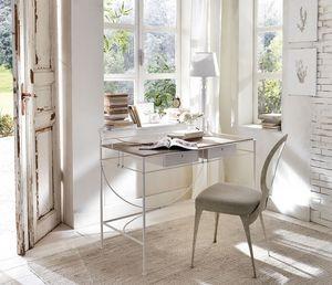 Zazà bureau, Bureau avec structure en acier courbé, tiroirs en bois