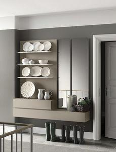 People P203, étagère modulaire, style moderne, avec miroir