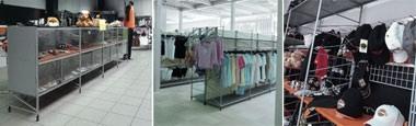 Socrate clothes shop, Systèmes de rayonnages pour magasins, diverses finitions et accessoires