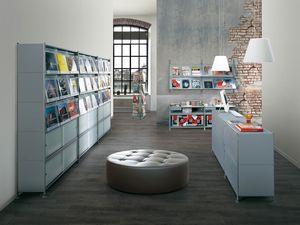 Socrate shops, Étagères modulaires en acier peint, pour les boutiques