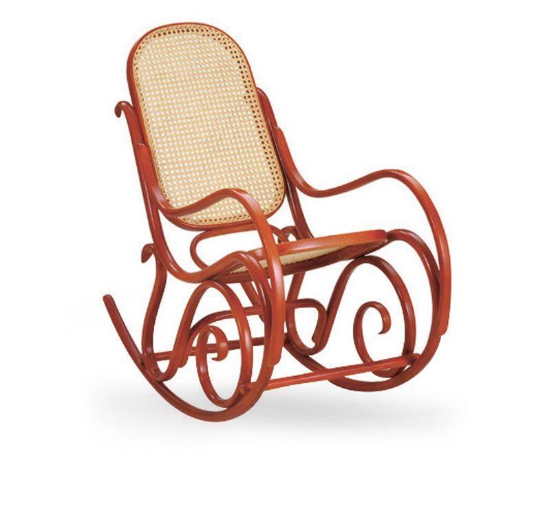Dondolo, Chaise à bascule en bois, assise et dossier en canne