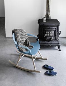 Elephant Rocking Chair, Chaise à bascule avec base en bois massif et coquille de polyuréthane
