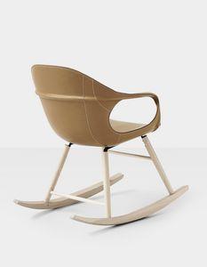 Elephant Rocking Chair leather, Fauteuil à bascule avec siège rembourré en cuir