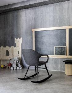 Elephant Rocking Chair Upholstered, Chaise à bascule rembourrée avec base en bois de hêtre