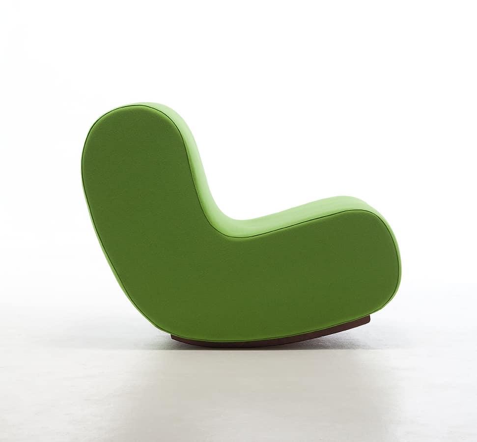 Simple rocking chair, Fauteuil à bascule, siège rembourré de mousse ignifuge, modulaire
