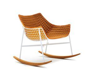 Summer set fauteuil à bascule, Chaise berçante rembourrée en acier et teck, pour extérieur