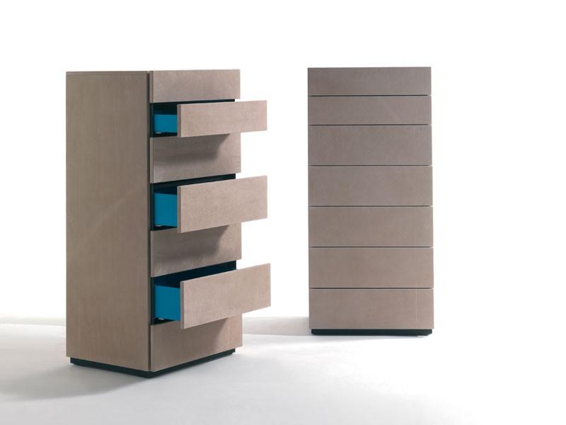 HARU NABUK dresser, Tiroirs hebdomadaires en bois recouvert de cuir, différentes couleurs
