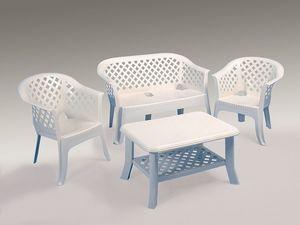 Lario set, Canapé et fauteuils en résine, pour le jardin