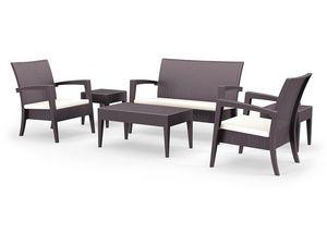Minorca Set, Siège moderne et table, en rotin, pour une utilisation extérieure