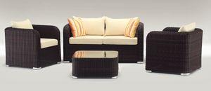 Nizza Set, Jeu extérieur avec canapé, fauteuil et une table basse, tordu
