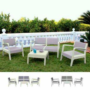 Salon Table de jardin jardin Resina Bar 4 places arrière surélevé MIAMI, Set d'extérieur avec table d'appoint et canapés